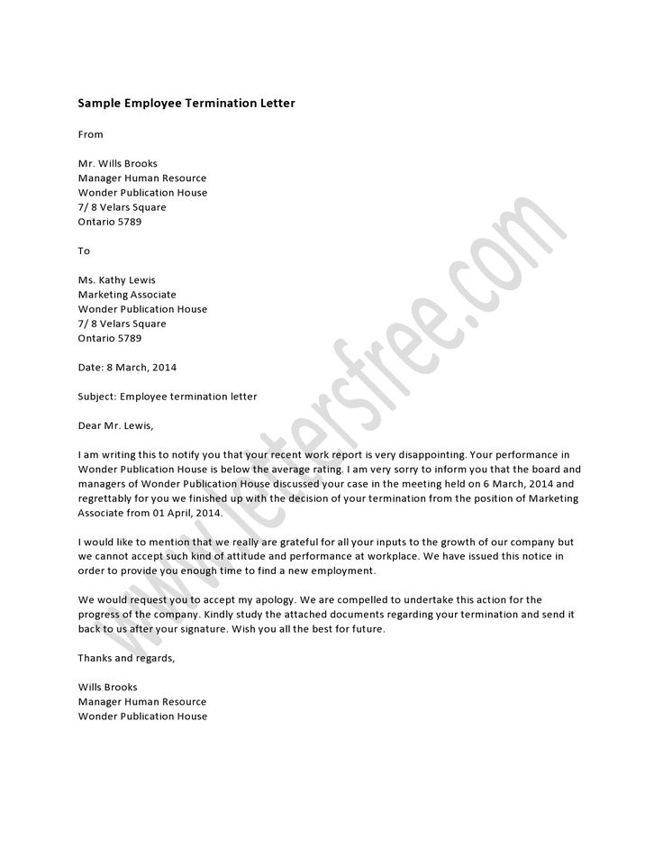 Employee Termination Letter is a template used by companies to outline the terms of an employee's termination with the company.