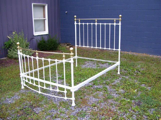 ANTIQUE VICTORIAN IRON & BRASS BED CURVED FOOT BOARD-EVERYTHING MUST GO
