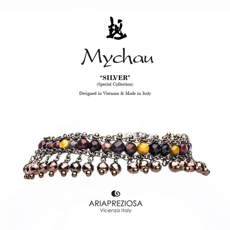 Mychau Silver - Bracciale realizzato in Argento 925‰ (galvanica chocolate) e pietre naturali Agata Mokaite ed Ematite Placcata Chocolate