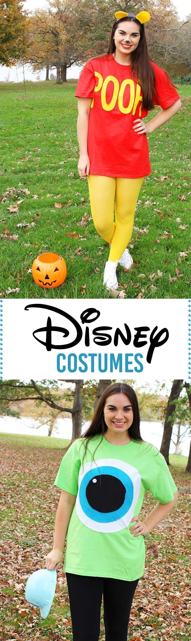 DIY Last Minute Disney Halloween Costumes! Super easy and inexpensive Disney Character  Costumes! DIY Winnie the Pooh and DIY Mike Wazowski from Monsters Inc.