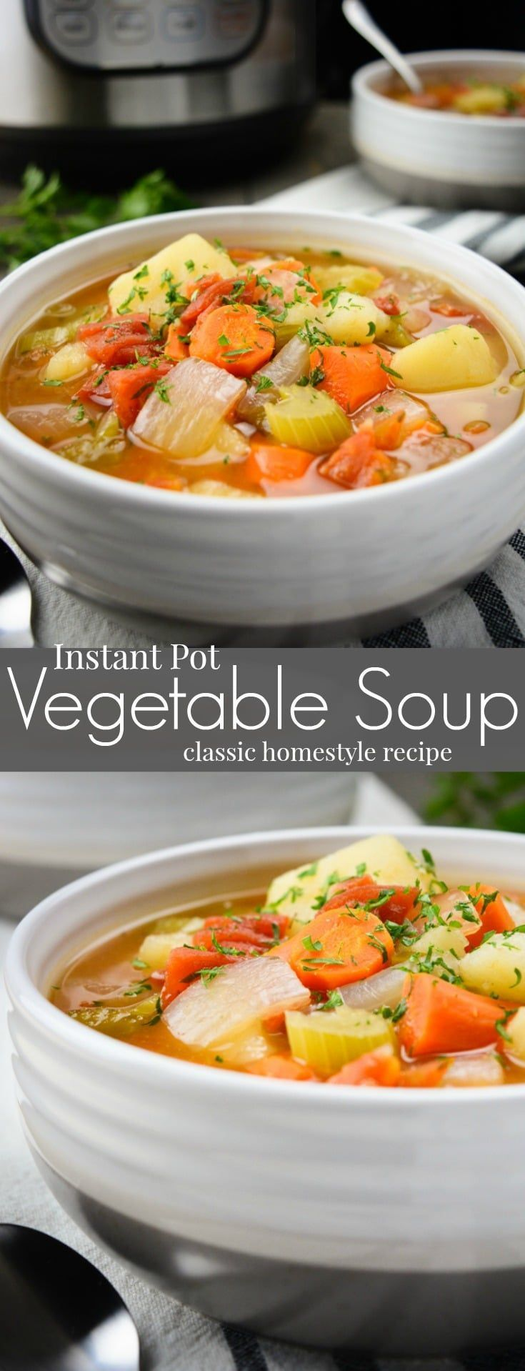 Instant Pot Vegetable Soup is a classic homestyle recipe made with simple ingredients.  It's super easy to bring together making it an ideal weeknight dinner.  This healthy & flavorful chunky vegetable soup is vegan, vegetarian, gluten free and allergy friendly! #vegan #vegansoup #instantpotsoup #instantpotrecipe #vegetablesoup #instantpot #healthy #dairyfree #WYGYP via @WYGYP