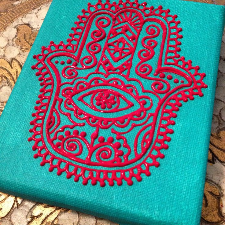 Red hamsa on turquoise mini canvas by Henna on Hudson
