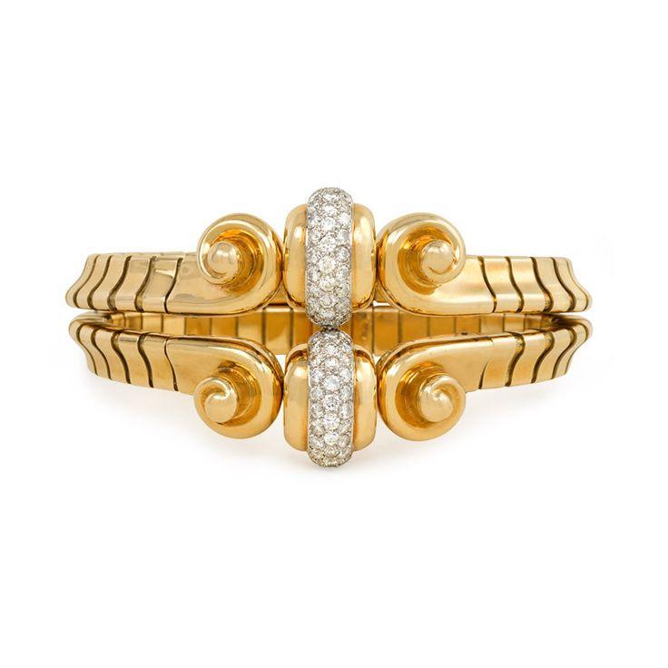 Retro gold and diamond bracelet, Mauboussin