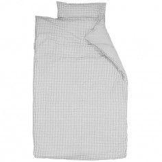 Housse de couette et taie d'oreiller Vichy gris (140 x 200 cm) - Taftan