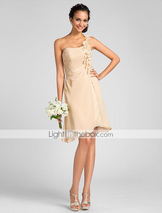 bruidsmeisje jurk knie lengte chiffon een lijn een schouder jurk met bloemen - EUR € 68.17