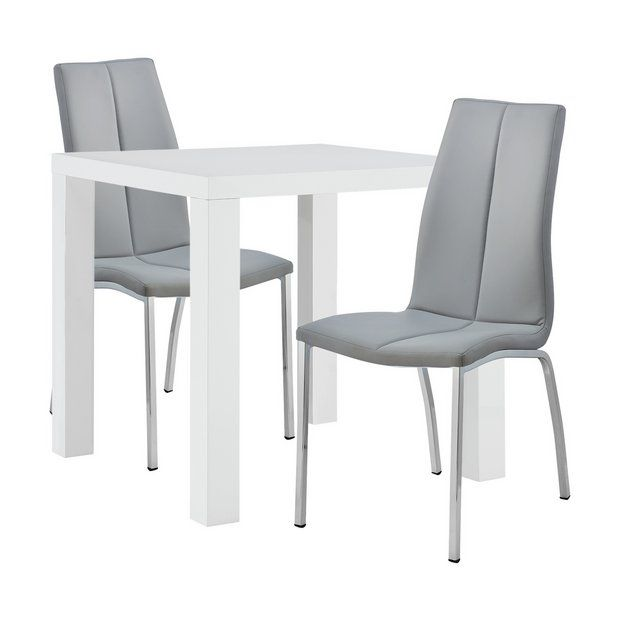Buy Argos Home Lyssa White Gloss Table 2 Grey Milo Chairs At Argos Thousands Of Products For Same Day Del In 2020 Table And Chair Sets Grey Dining Tables Argos Home