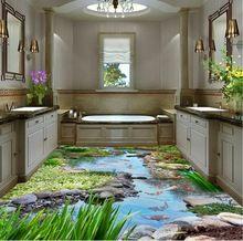 Piso 3d papel pintado pintura Creek suelo carpa 3D 3d baño wallpaper impermeable piso 3d wallpaper(China)