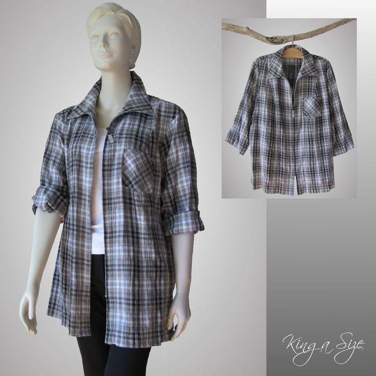 Gigi - Long Bluse & Zipper  Blusenjacke / Hemdbluse - COTTON & STRETCH Gr.52 NEU