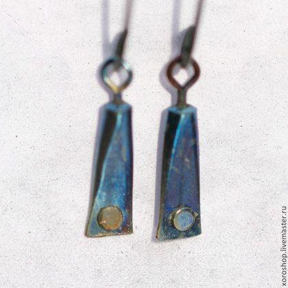 серебряные серьги с титановой повеской с заклепкой - висюльки,серьги,Серьги-висюльки
