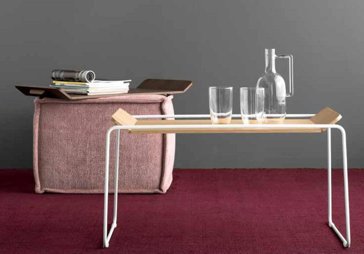 FILO table. Help you to serve your breakfast directly to the  bed. Look how nice it play with pink SOAP sofa as well from Calligaris