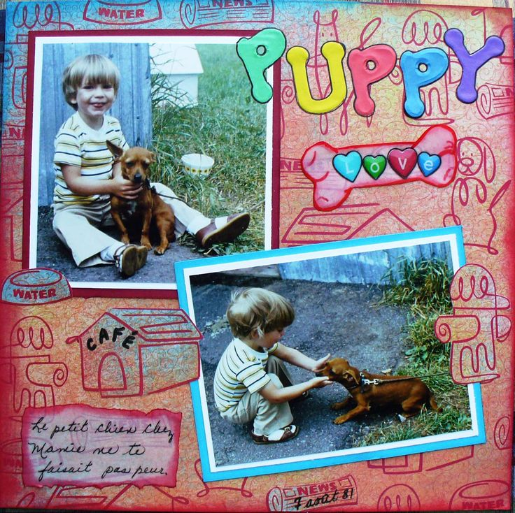"Another one for my son's album. When he was 2, he loved this little dog named ""café"". I'm entering it in the Lasting Memories challenge LM #233 ""Best of Friends""."