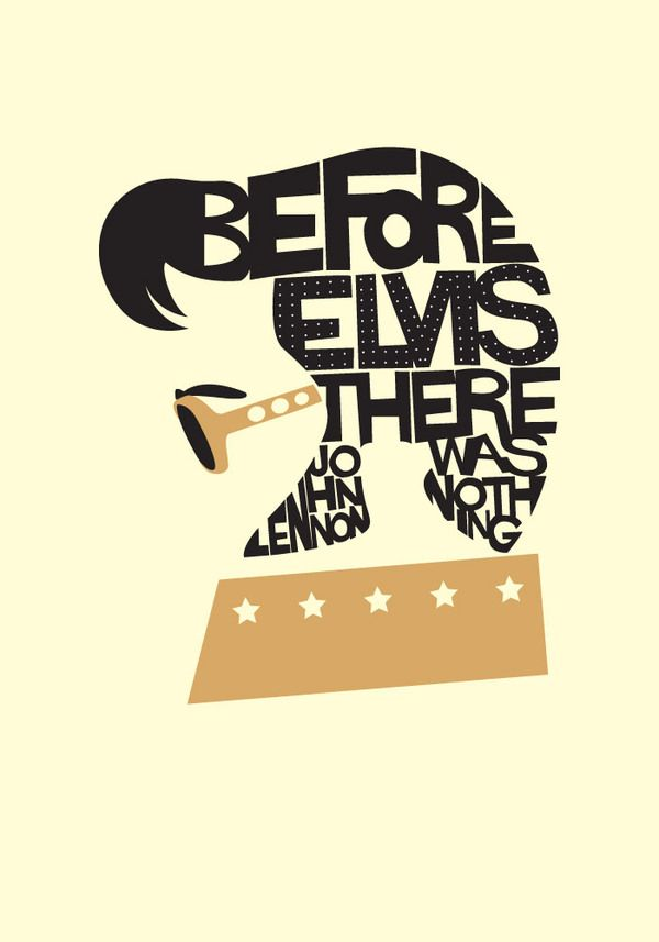 Art Inspired by the King of Rock 'n' Roll, for Elvis Presley's 78th Birthday #illustration #elvis_presley #typography