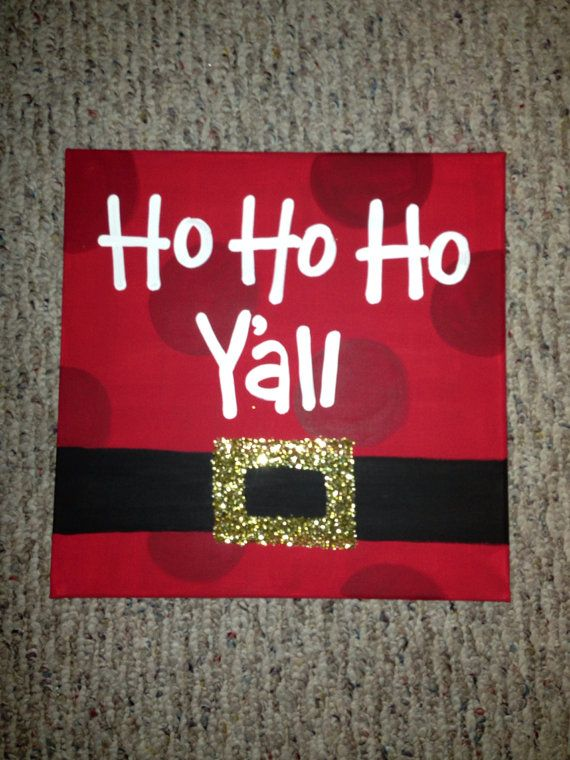 Hand Painted Christmas Canvas By Amcbenton On Etsy Card Idea