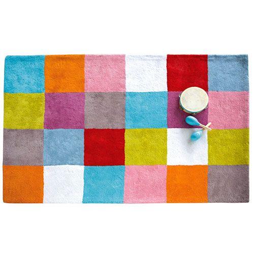ce tapis damier multicolore en coton aux couleurs trs gaies et toniques rchauffe l - Tapis Chambre Bebe Garcon
