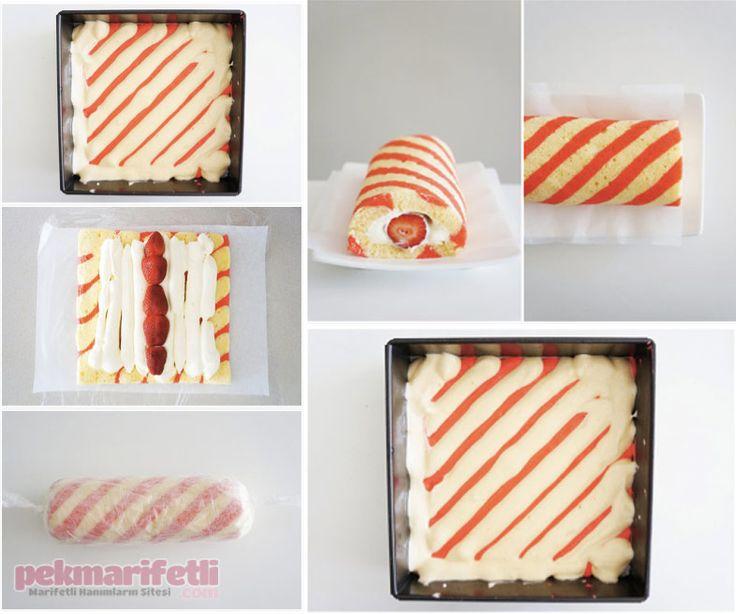 Çizgili desenli rulo pasta yapımı | Mutfak | Pek Marifetli!