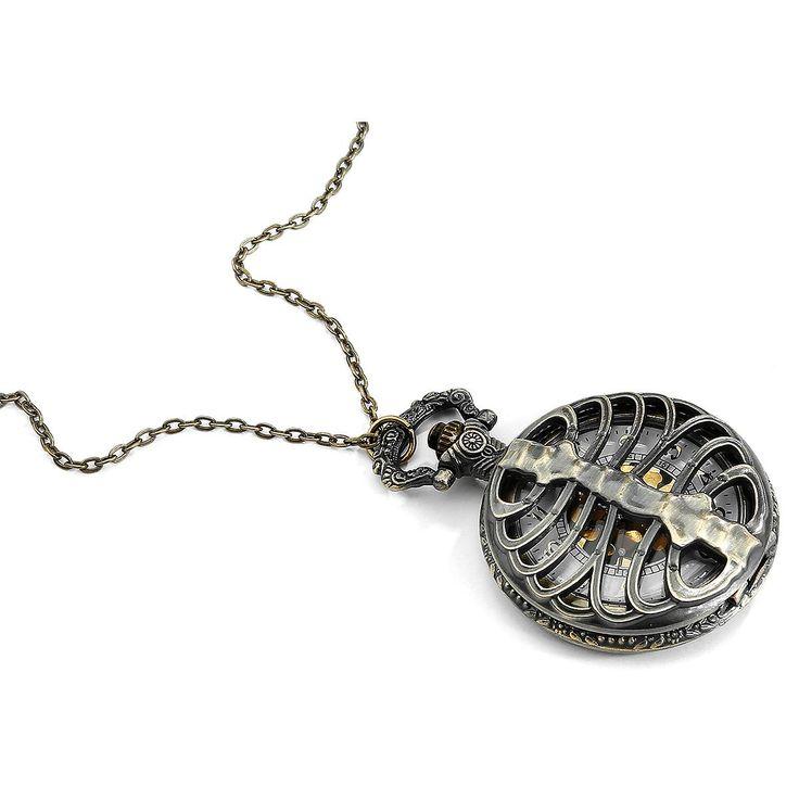 Skeleton lommeur fra Alcatraz.    - med halskæde, 60 cm.  - str. 6,8 x 4,6 cm.  - hvid skive med guldfarvede numre.  - krone i toppen.  - hold uret tørt.