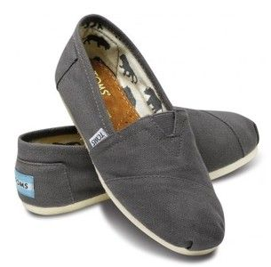 Dark Gray Toms Canvas Flat Shoes