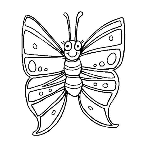 Butterfly Funny Butterfly With Winked Eye Coloring Page