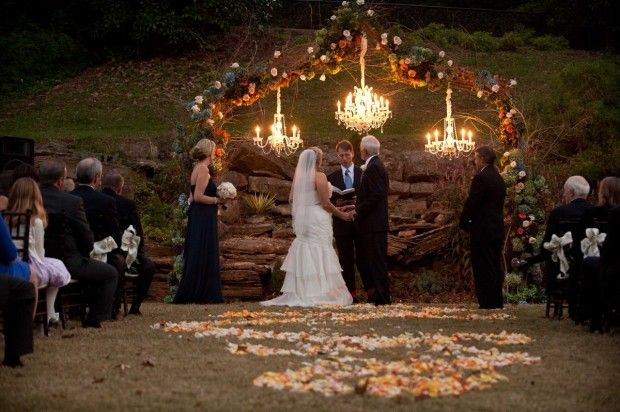Romantic Outdoor Fall Wedding: Outdoor Fall Wedding Classy Altar Ceremony Setup, Perfect