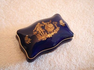 LIMOGES FRANCE PORCELAIN Trinket Box COBALT BLUE & GOLD Victorian ...