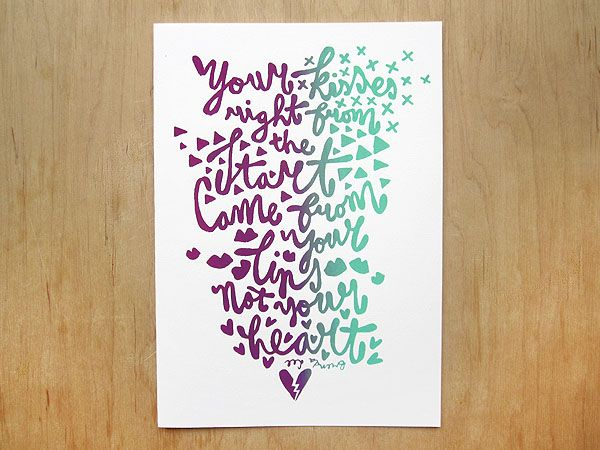 Made by Marianne Lock / Hatemail / Series of three screenprints with lovesong lyrics / Typography / FOR SALE