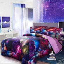 4 pcs Purple Star Wars Galaxy Sky 3D Jogo de Cama Colcha de Retalhos Conjuntos Capa de edredão/Lençóis Rei Queen Size 150 cm 180 cm de Linho(China (Mainland))