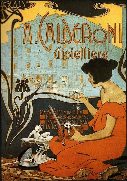 1898 Art Nouveau poster by Adolfo Hohenstein that advertises Calderoni jewels.
