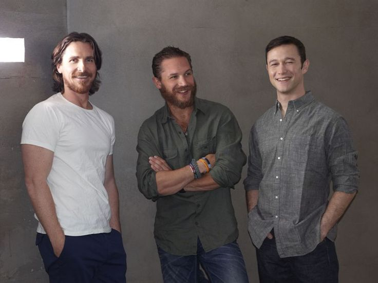 Christian Bale, Tom Hardy, and JGL. love me some beards