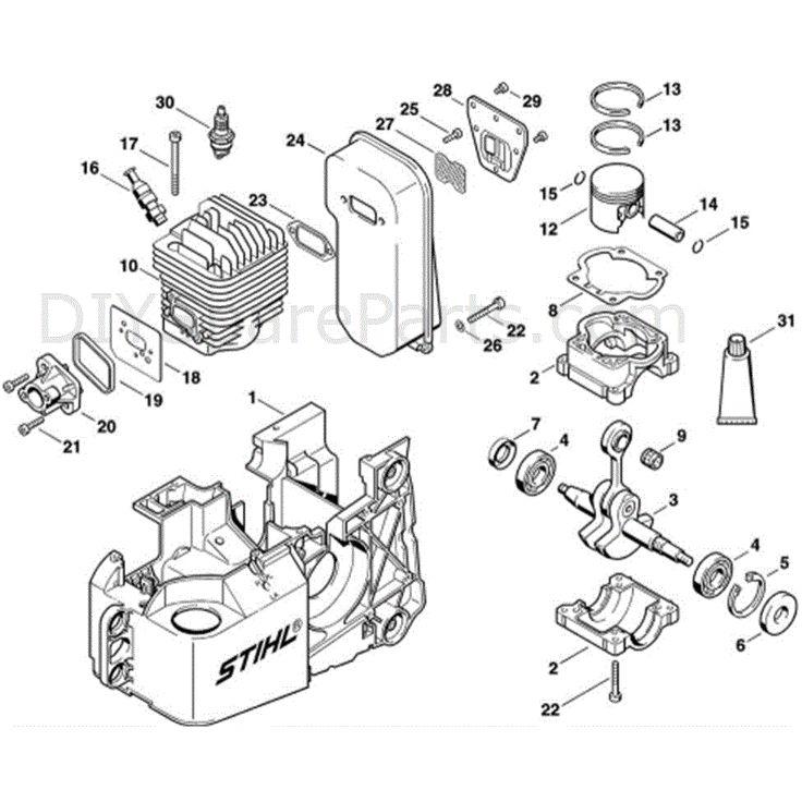 Stihl TS 460 Disc Cutter (TS 460) Parts Diagram, A-Engine