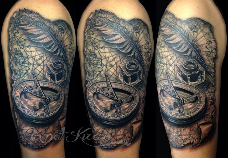Compass feather inkwell tattoo