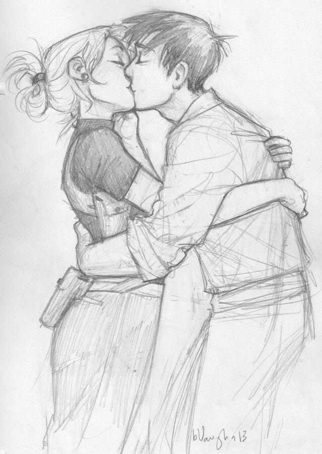 Iz & August >>> By burdge // http://burdge.tumblr.com/post/70031585671/draws-fictional-characters-kissing-when-stressed // Burdge always gives me feels.