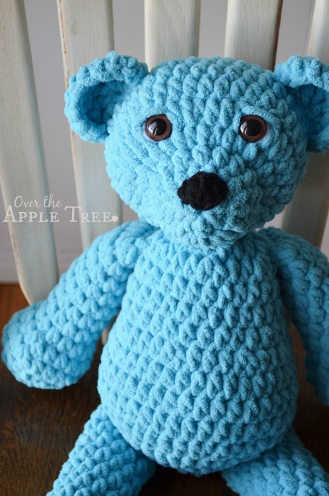 Super Squishy Crochet Bear made with Bernat Baby Blanket yarn by Over The Apple Tree -No pattern, inspiration only:-)