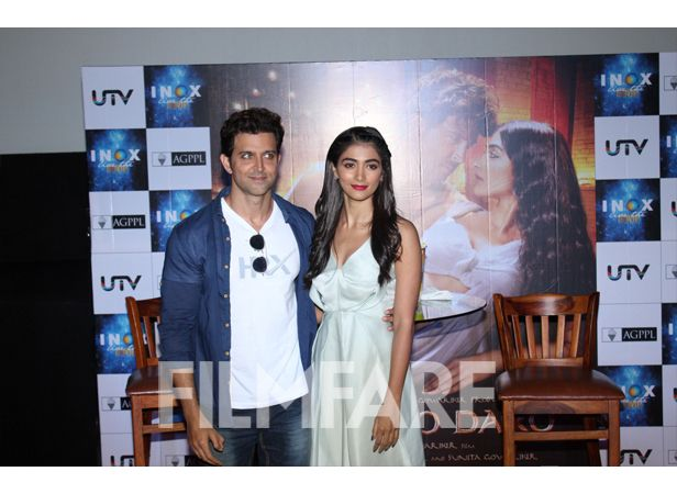 Hrithik Roshan and Pooja Hegde visited a multiplex to meet their fans. The crowd went berserk after meeting their favourite superstar Hrithik Roshan. Hrithik clicked pictures and also chatted with them. Hrithik and Pooja spoke about their film Mohenjo Daro, which hits the big screen today.