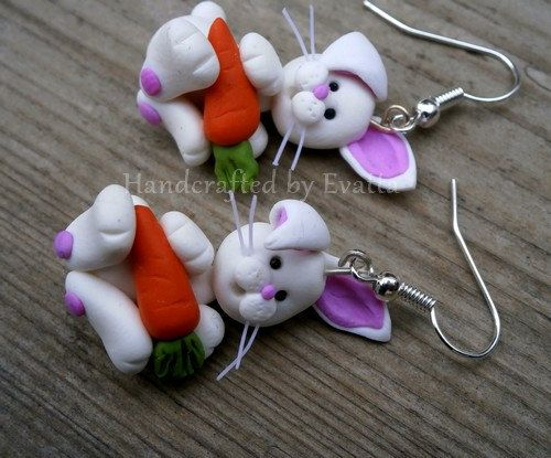 Easter Bunny Earrings  Worldwide Free shipping by EviJewelry