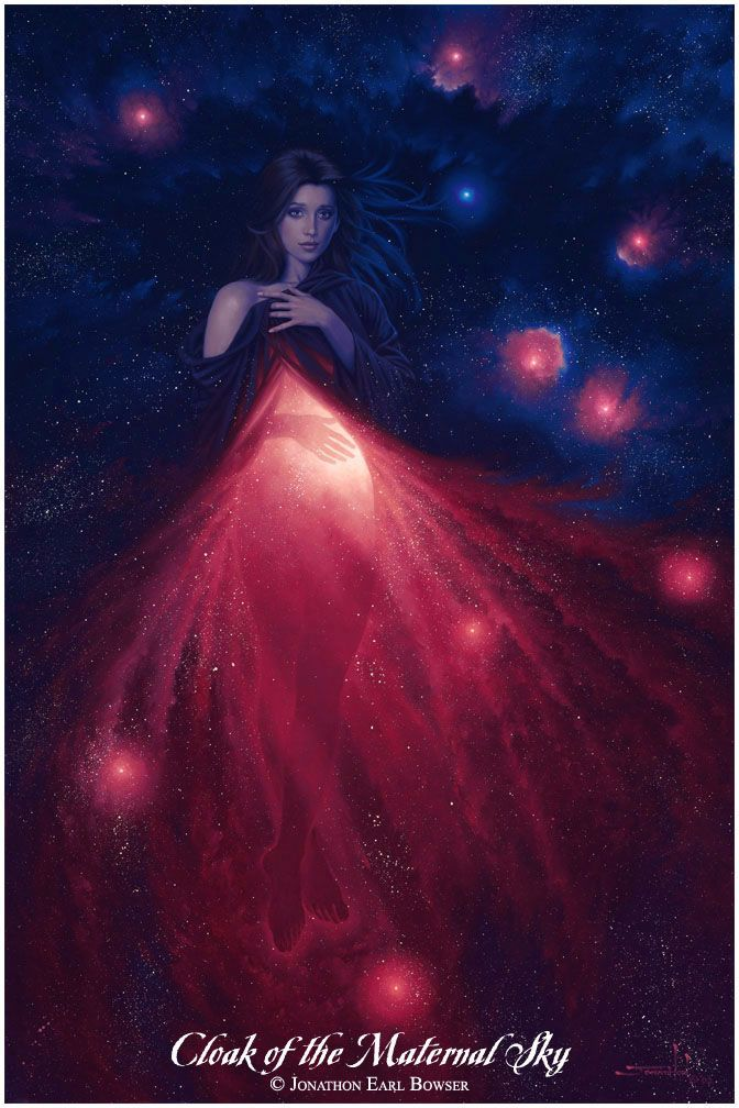 © Jonathon Earl Bowser, Goddess of Transformation, the mysterious Will of Creation living in the Celestial Womb of New Stars, Oil on Canvasboard, 2002