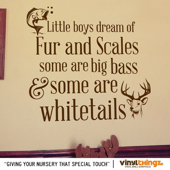 Wall Decals Nursery Hunting Fishing Deer Baby Childrens Room - To go to sleep - Big bass and whitetails Vinyl decal