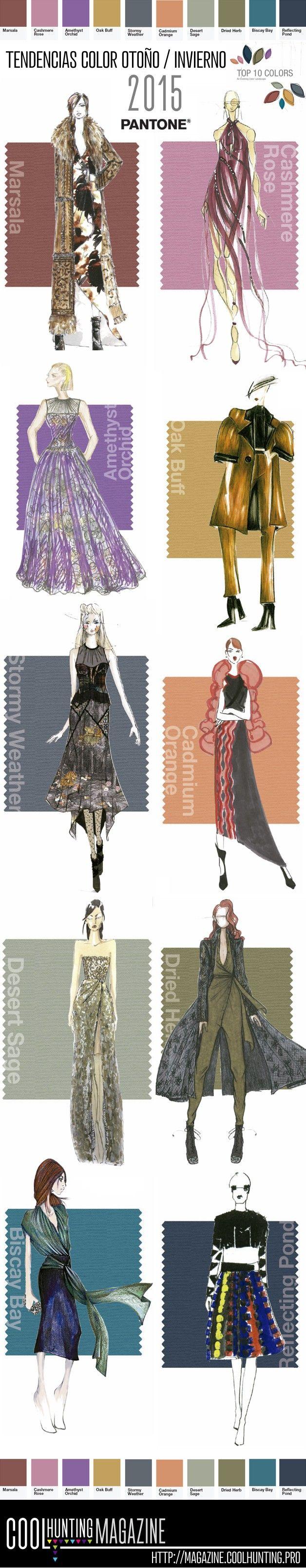 Tendencias Color temporada Otoño/Invierno 2015 mostradas en una selección de figurines de moda #moda #figurines www.figurinesdemoda.com