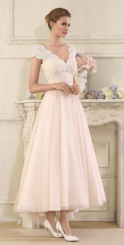 Tea Length Wedding Dress Sol by Novia D'Art. 2017 Bridal Collection.