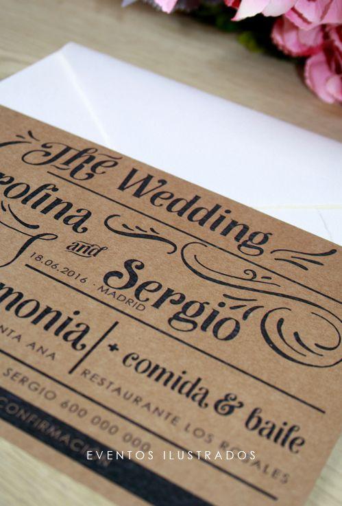 Invitaciones de boda con estilo rústico - chic: el kraft no puede faltar!
