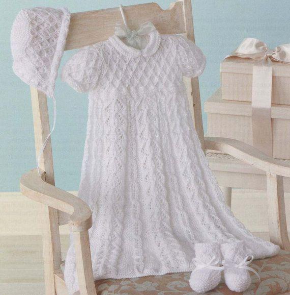 Baby Christening Set Knitting Pattern by VintageEtsian on Etsy, $6.00