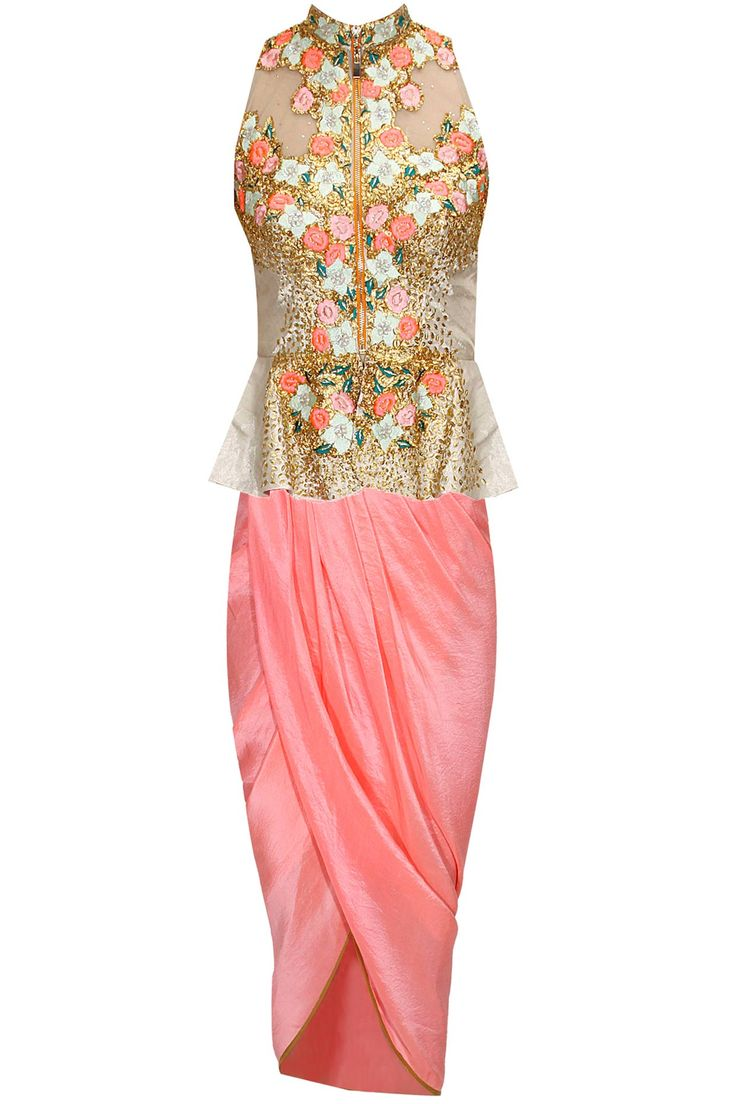 Silver silk floral thread embroidered and gold coin peplum jacket with salmon pink dhoti style wrap by Papa Don't Preach. http://www.perniaspopupshop.com/designers/papa-don-t-preach-by-shubhika #peplum #jacket #dhoti #papadontpreach #shopnow #perniaspopupshop