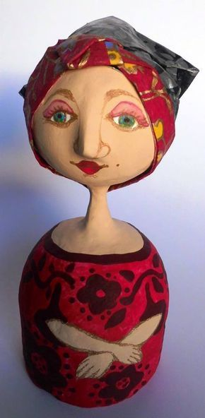 Unique papier mâché dolls, handmade by Karina Sellanes (Venezuela) [$40.00] Height 8 in, Weight 10 oz