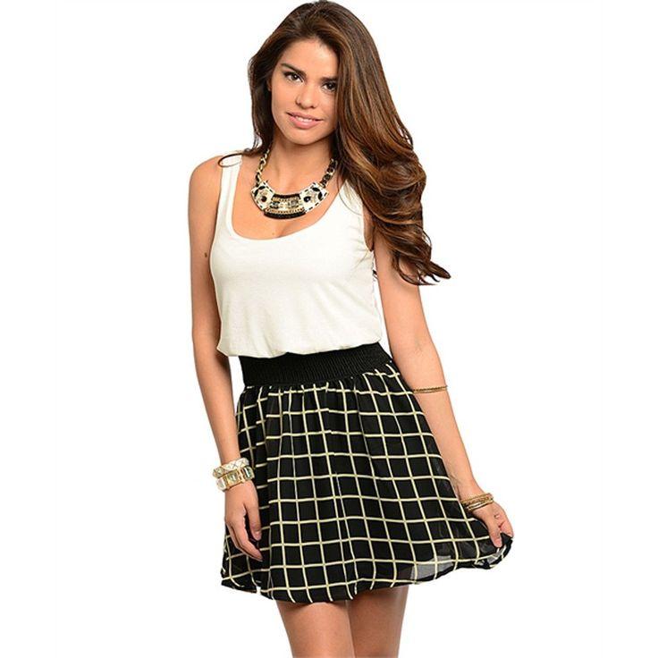 Ivory and black sleeveless dress