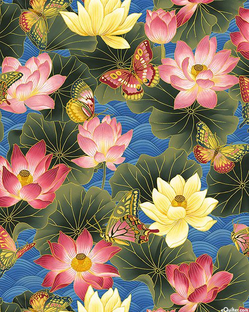 Nobu Fujiyama Sanctuary II - Lotus Waters - Quilt Fabrics from www.eQuilter.com
