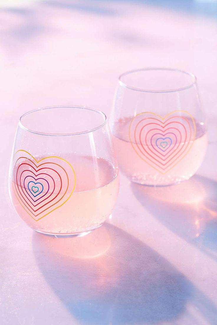 Rainbow Stemless Wine Glasses Set