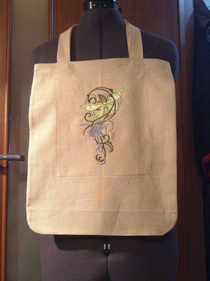 Текстильная сумка со стрекозой