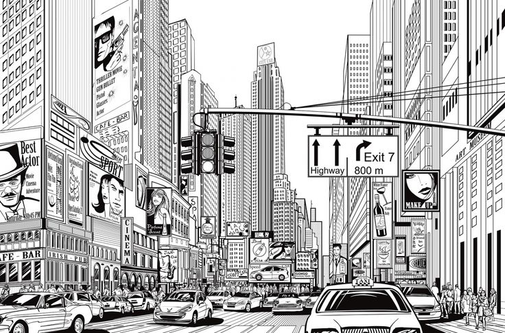 Cartoon City is a wall mural in comic book style picturing a bustling city street full of traffic, billboards and people.