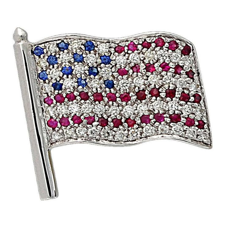Ruby Sapphire diamond gold american flag pin | From a unique collection of vintage brooches at https://www.1stdibs.com/jewelry/brooches/brooches/