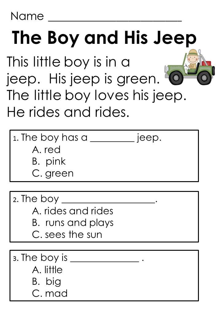 Kindergarten Reading Prehension Passages With Multiple