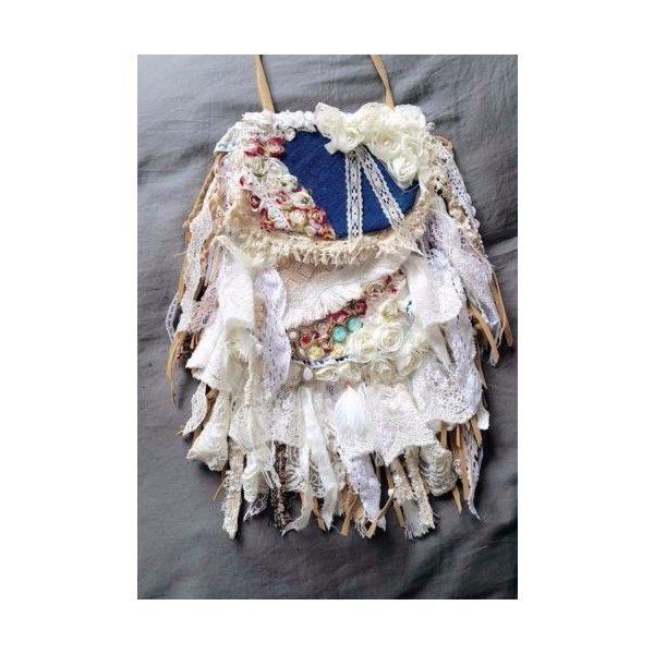 HANDMADE BOHEMIAN CROSS BODY BAG BEADED LACE HANDBAG GYPSY HIPPIE BOHO PURSE | eBay found on Polyvore